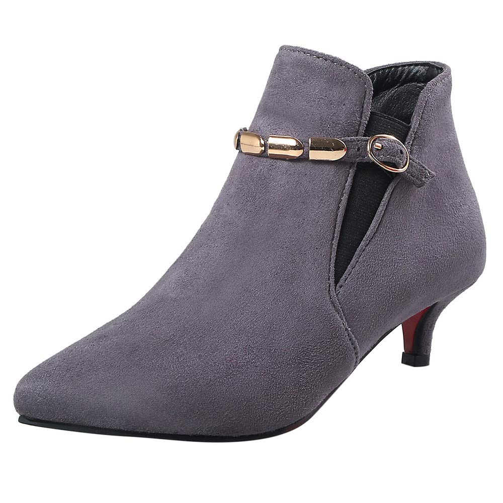 Hunzed Women Shoes Suede Pointed Low Heel Clearance Metal Chain Women's mid-Heel Booties (Gray, 5.5)
