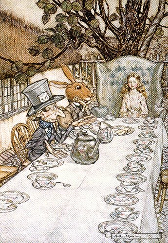 Alice in Wonderland Tea Party Vintage Poster (artist: Rackhaw) c. 1907 (12x18 (Tea Party Canvas Reproduction)