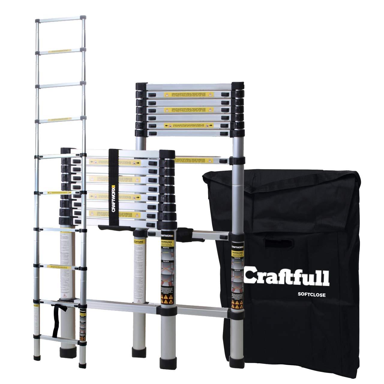 2.6 Meter Soft Close Craftfull Aluminium Teleskopleiter 2//2,6//2,9//3,2//3,8//4,1//4,4 Meter Tragetasche Alu Leiter Trittleiter