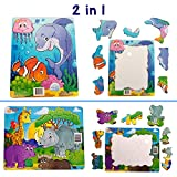 Best Jigsaw Toddler Puzzles Bundle of 2 (7 pcs) for Kids, Toddlers Ages 3,4,5. Ocean and Animals. Easy, Beginner Pieces. Fun Learning Educational Toy for Boys Girls at Daycare, Preschool, Montessori