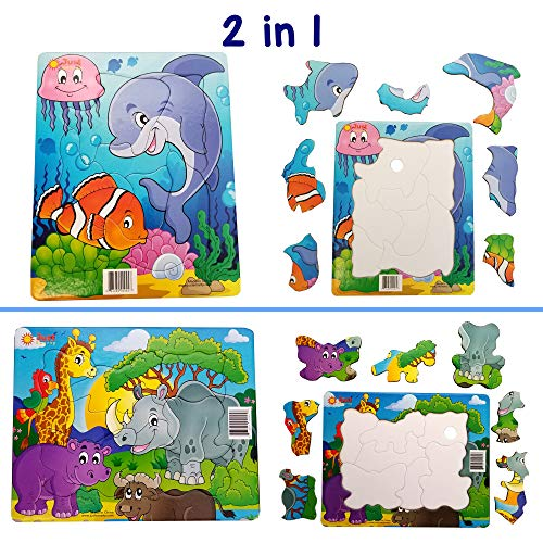 Just Smarty Jigsaw Puzzle for Kids Set of 2, Toddler Ages 2 3 4 Year Old. Easy Shapes 7 Pieces Each, Beginner Level. Fun Learning Educational Toy for Boys Girls at Daycare, Preschool, Montessori