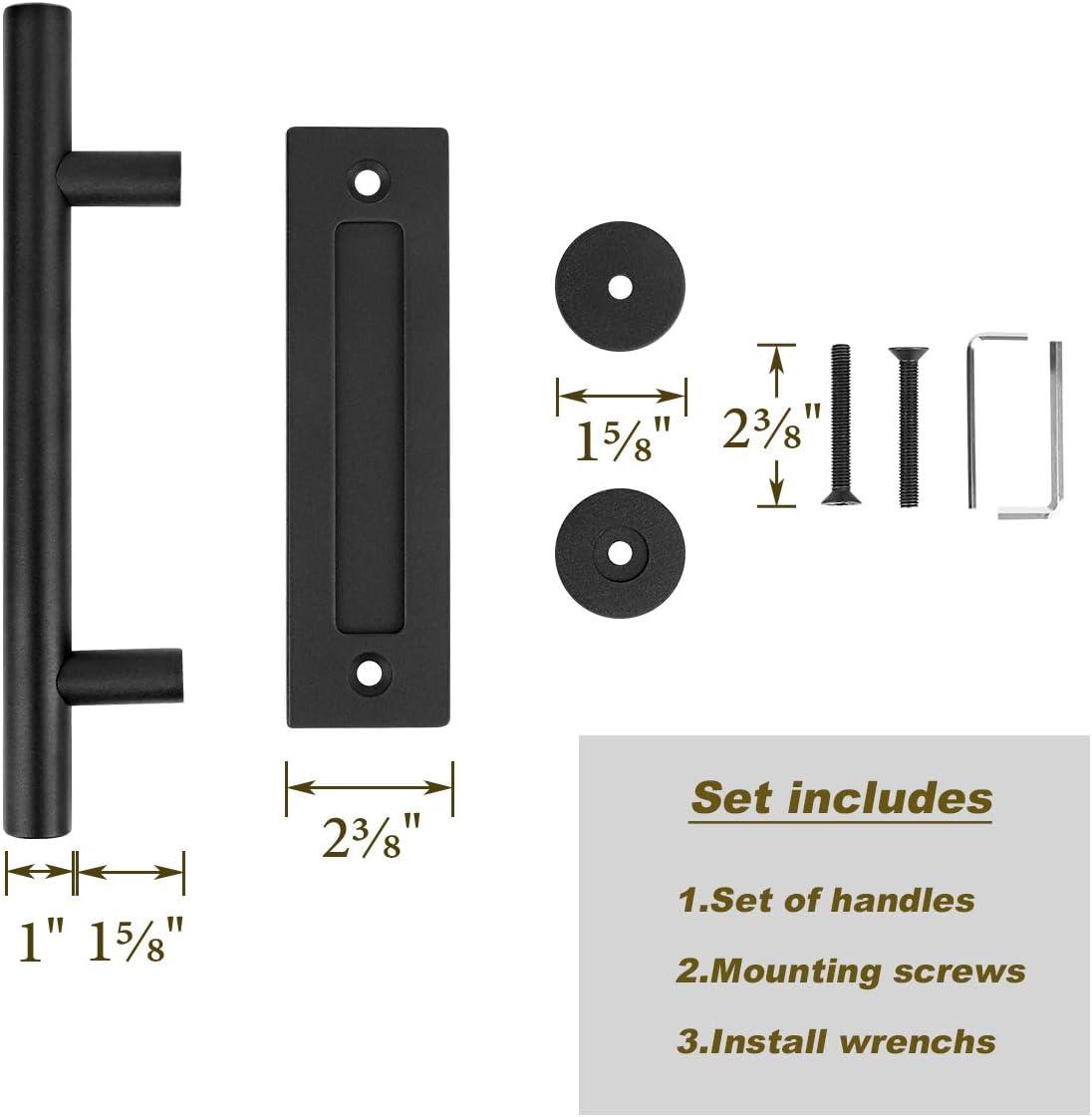 Two-Side Design Dedoot Black 12 Sliding Door Handle Heavy Duty Pull and Flush Barn Door Handle Set for Gate Cabinet Closet Barn Door Handle