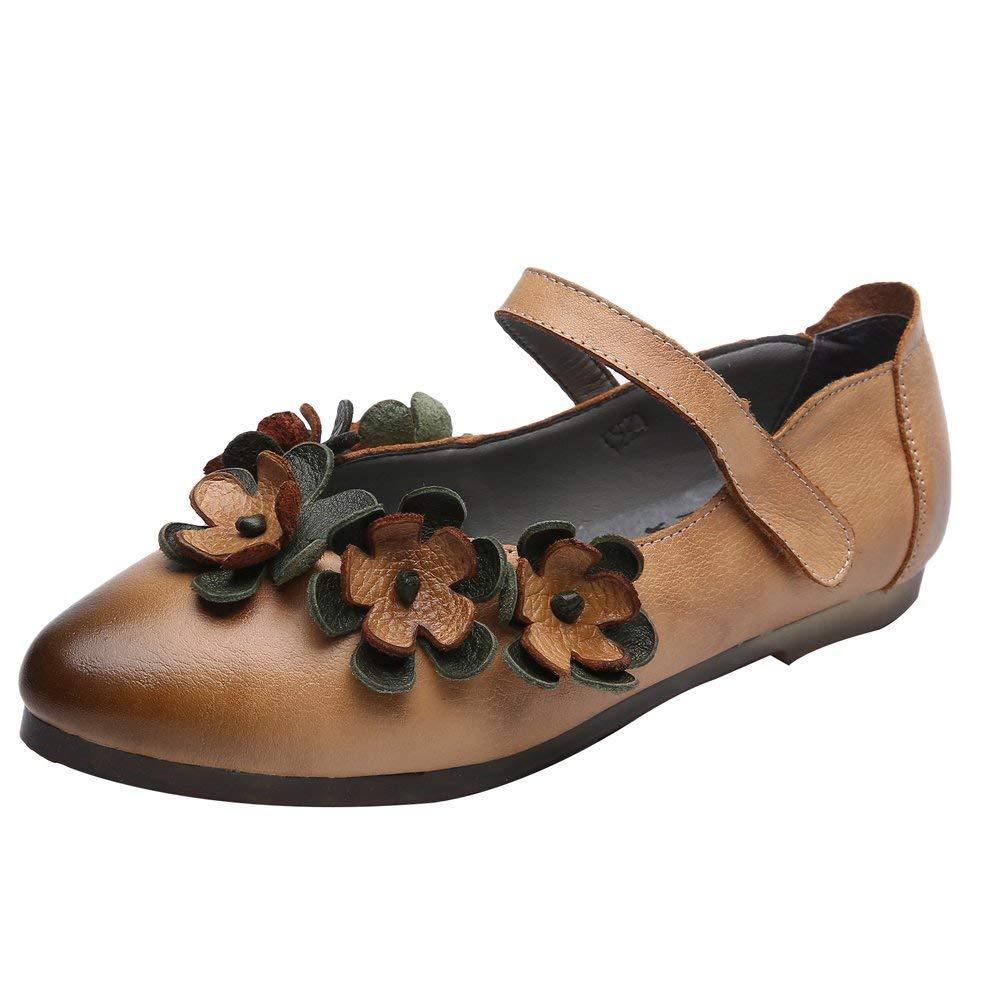 Qiusa Frauen Frühling Flache Schuhe Knöchelriemen Leder Slip on (Farbe   Gelb Größe   5 UK)