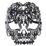 Coxeer Skull Masquerade Mask Halloween Metal Mask with Rhinestones