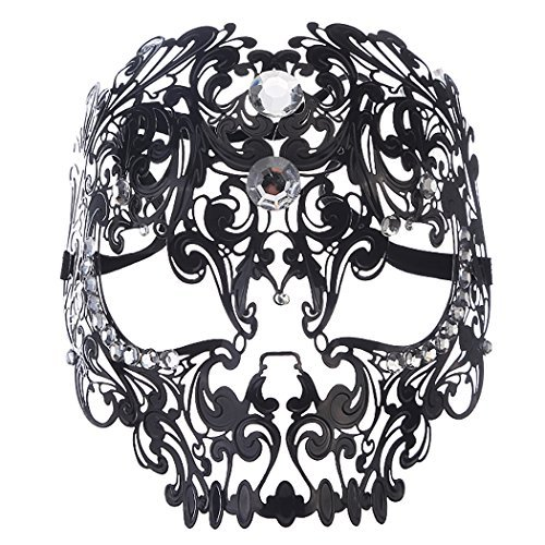 Coxeer Skull Masquerade Mask Halloween Metal Mask with Rhinestones ()