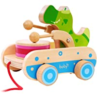 Boby Pull Along Croc Click Clack, Walk-A-Long Crocodile for Your Toddler, Wooden Push and Pull Toy for Beginner Walkers