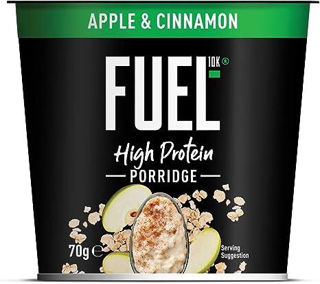 Gachas de avena FUEL10K con manzana y canela, 8 x 70 g: desayuno instantáneo con alto contenido proteico