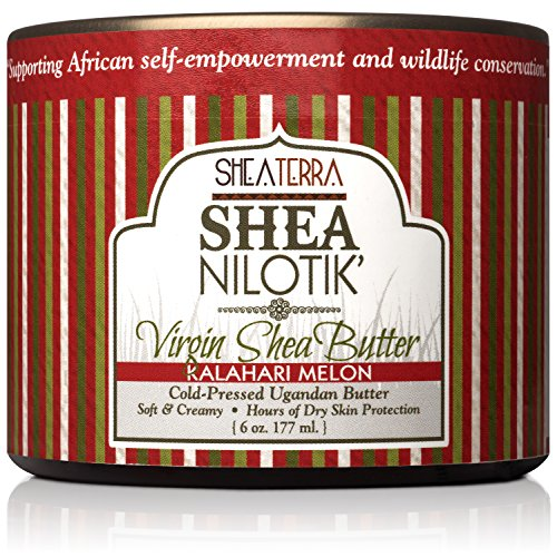 Shea Terra Organics 100% Organic Cold Pressed Virgin Shea Butter Scented with Kalahari Melon Essential Oil and Real Watermelon Extract | Natural Daily Skin Cream - 6 oz