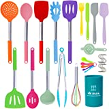 Silicone Cooking Utensils Set, 31pcs Kitchen Utensils Set, Heat Resistant Non-stick Silicone Spatula Set with Stainless Steel
