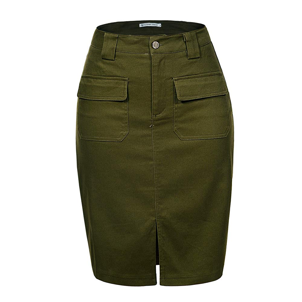 Women's Knee Length Pencil Skirts with Front Pockets and Slit 1803 (L,Army Green)
