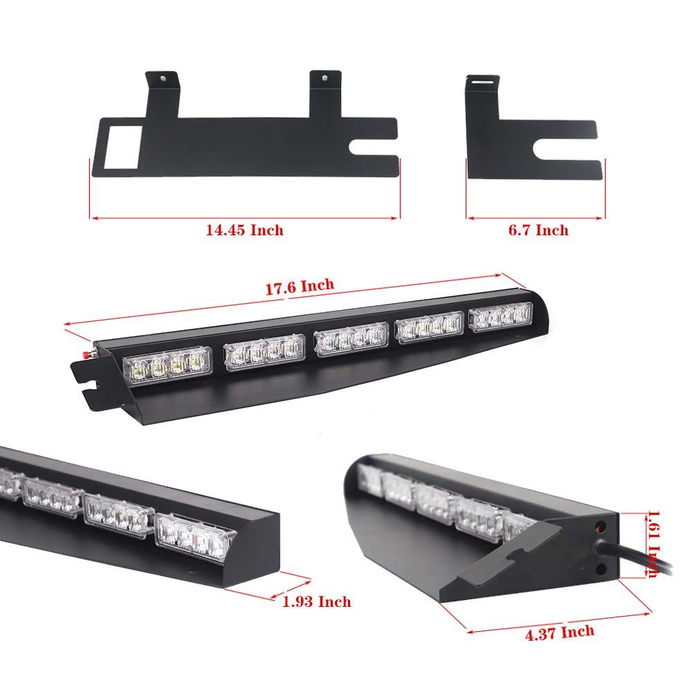 Strobe Light Bar //34 40 LED Emergency Warning//Visor Dash Deck Split//w//Take Down Signal//LED Windshield Flashing Red White Blue