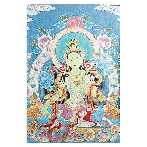 Prime Feng Shui Silk Embroidery Tibetan Thangka with Buddhism Green Tara Wall Hanging for Home/Buddhist Temple Décor(Large)