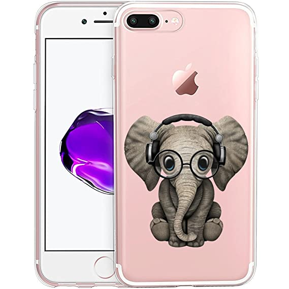 the best attitude 89fb6 c6585 Cute Baby Elephant Clear Phone Case for iPhone 8 Plus / iPhone 7 Plus  Customized Design by MERVELLE TPU Clear Shock-Proof Protective Case [Ultra  Slim, ...