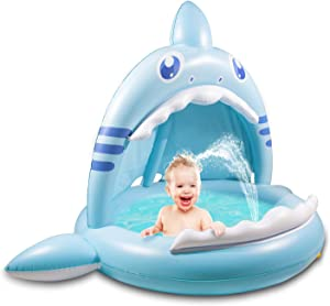 Ayeboovi Baby Pool, Sprinkler for Kids Inflatable Splashing Pad with Shade Best Summer Toys Gift for Boys Girls