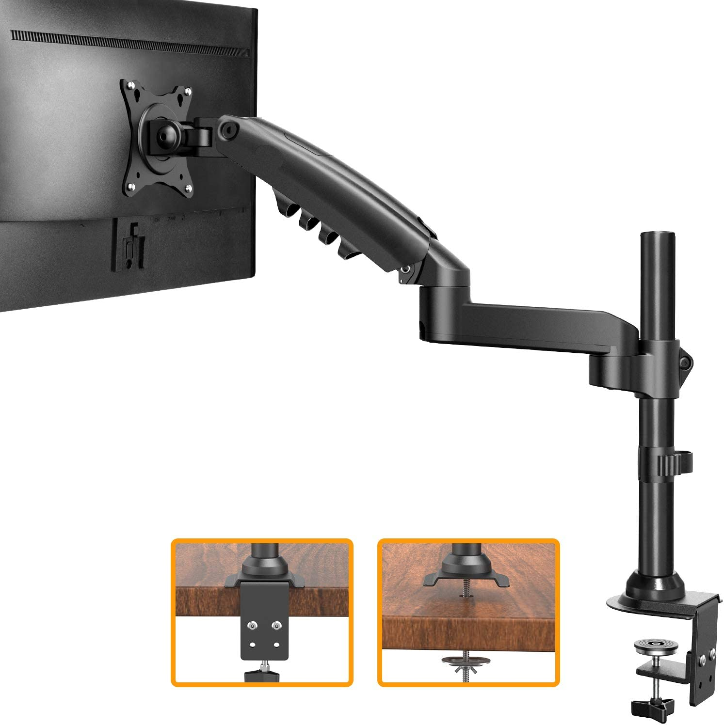 "ErGear 17""-34"" Single Monitor Desk Mount Stand Kit, Full Motion Gas Spring Arms with Clamp On/Grommet Mounting Base, Holds Computer Screen up to 19.84 lbs/Arm with 75/100mm VESA, Black"