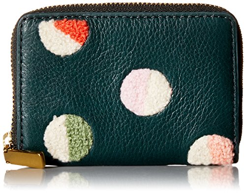 MINI WALLET RFID MINI ZIP CARD CASE ALPINE GREEN Credit Card Holder, CHENILLE DOT EMBROIDERY, One (Zip Card)