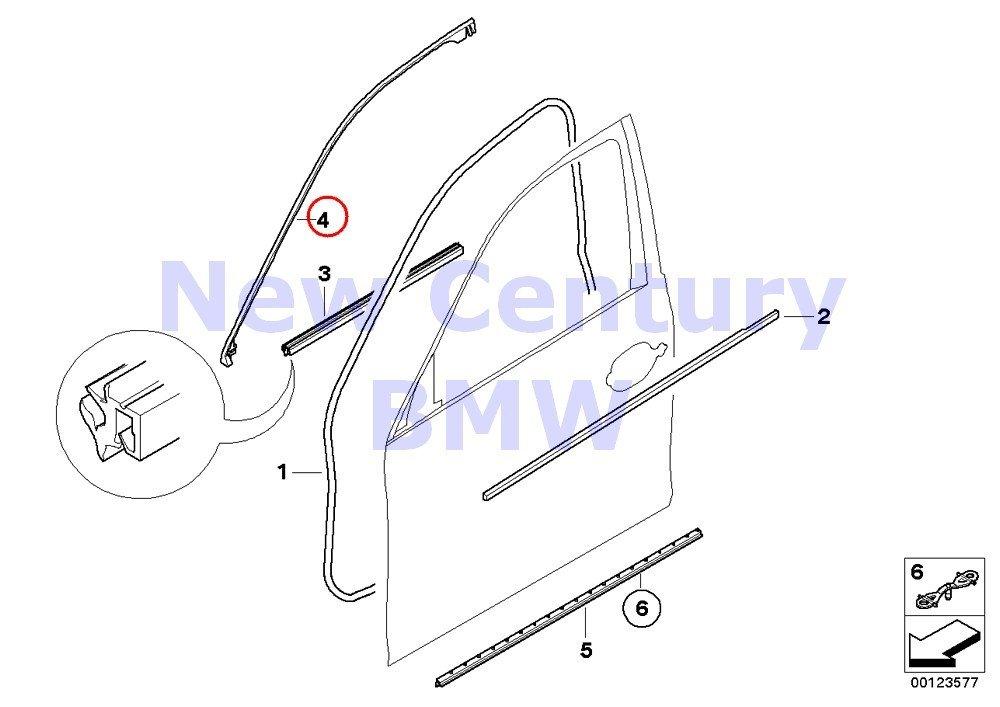 BMW E60 E61 Genuine Front Door Weatherstrip Seal NEW 525i 530i 545i 528i M5 550i