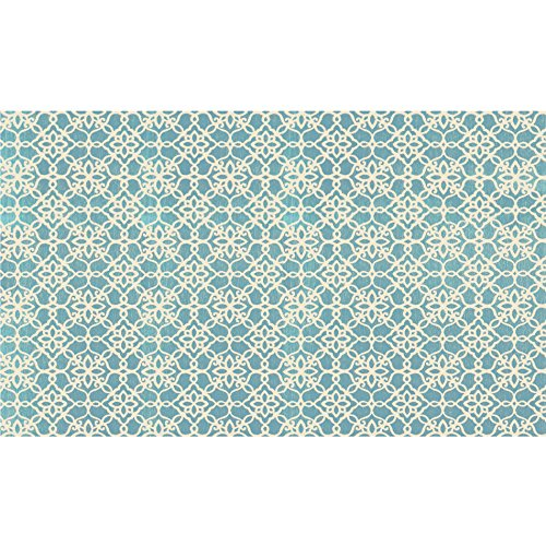 RUGGABLE Washable Stain Resistant Pet Dog Accent Rug for Indoor/Outdoor - Floral Tiles Aqua Blue 3' x 5' Accent Rug by RUGGABLE