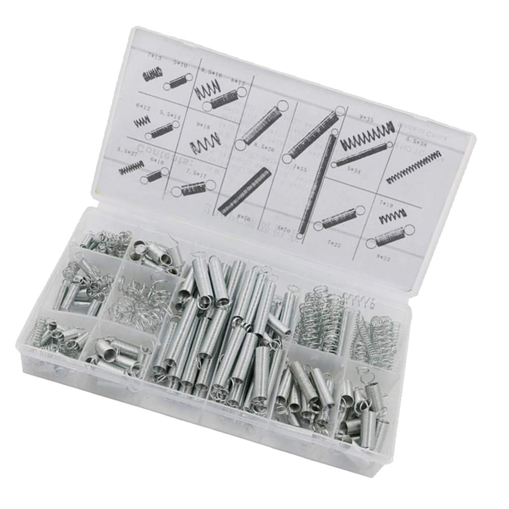 B Baosity 200pcs 20 Sizes Springs Assorted Kit Aluminum Electrical Hardware Extension Tension Springs Extended and Compressed Springs Assortment