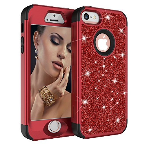 iPhone 5S Case, iPhone 5 Case, iPhone SE Case, Dooge Luxury Glitter Sparkle Bling Heavy Duty Full-Body Rugged High Impact Shockproof Protective Case for Apple iPhone 5S/5/SE -Red