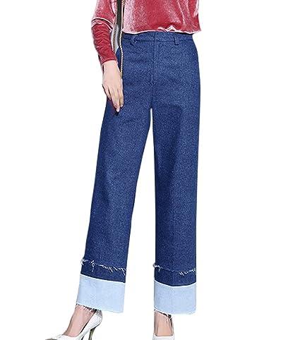 Mujer Boyfriend Vaqueros Ajuste Suelto Pantalones Jeans De ...
