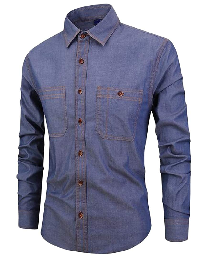 Wofupowga Mens Slim Casual Faux Jeans Button Front Long Sleeve Shirts
