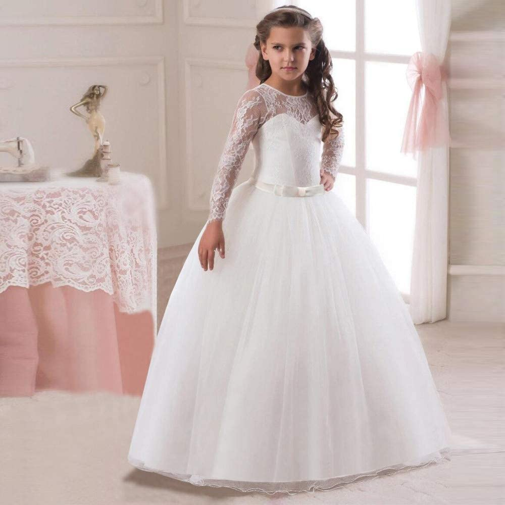 Baby Girl Lace Flower Tulle Dress Wedding Bridesmaid Party Pageant Tutu Skirt UK