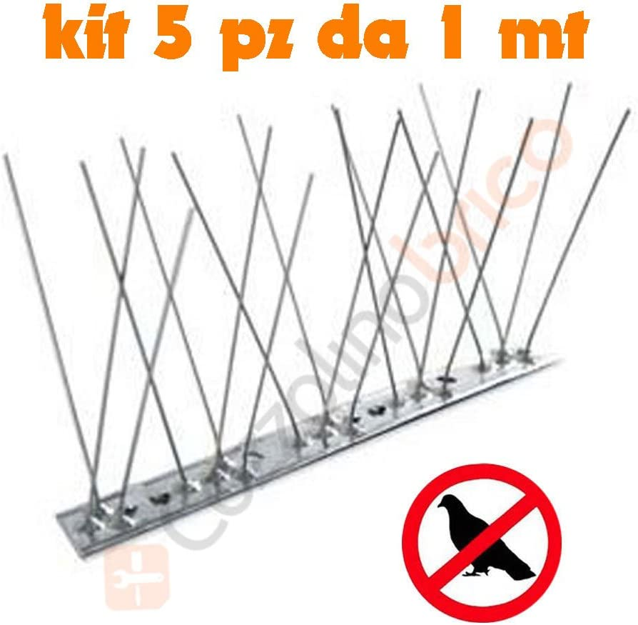 10 Pezzi Dissuasore Piccioni Parapiccioni  1mt  80 Punte in acciaio Inox
