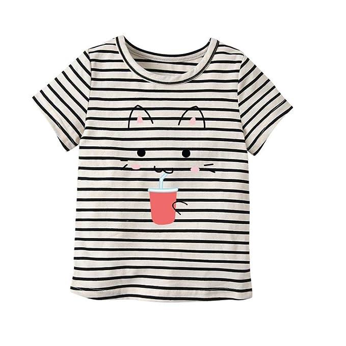 83096506cf91b 1-7 Years Toddler Short Sleeve Tops, Cute Baby Girl Summer Cartoon Smile Cat
