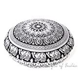 Eyes of India - 32'' White Black Mandala Floor Pillow Cover Meditation Cushion Seating Throw Hippie Round Colorful Decorative Bohemian Indian Boho Dog bedCover Only