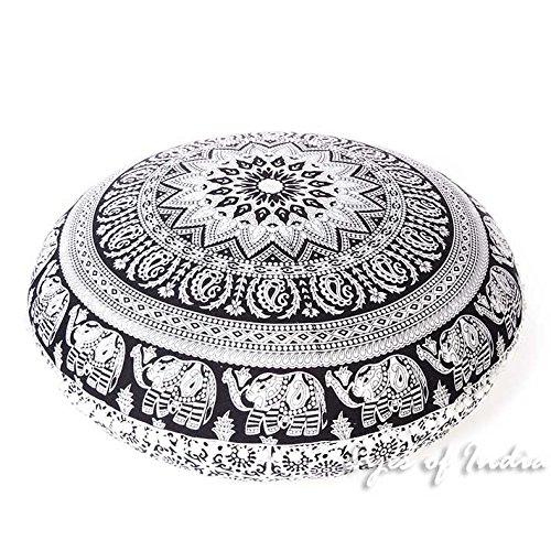 "Eyes of India 32"" White Black Mandala Floor Pillow Meditatio"