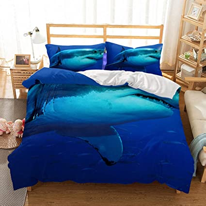 727597d79e65 APJJQ Ocean Whale Sharks Fish Print Pattern Twin Bedding Duvet Cover Sets(1  Duvet Cover
