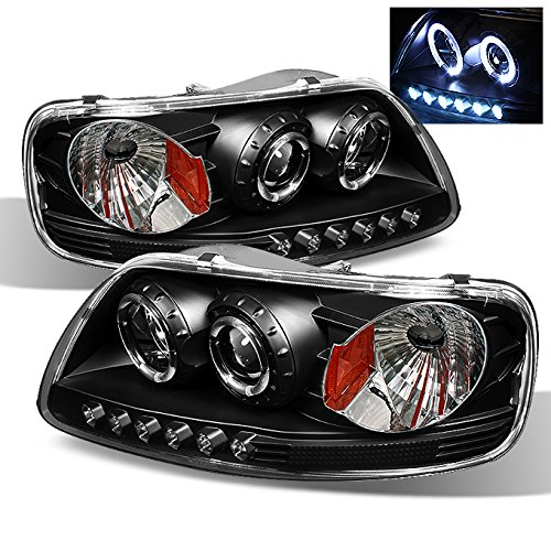 For Ford F150 Expedition Pickup Black Halo Ring LED 1 Piece Projector Replacement Headlights Pair