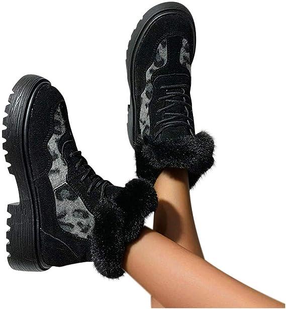 Dainzuy Winter Warm Booties Anti-Slip Ankle Booties Round Toe Slip On Warm Fur Lined Sneaker Snow Booties
