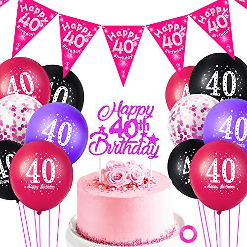 Sumind Set de Decoraciones de 40 Cumpleanos Incluye Globos de Latex de 12 Pulgadas Globos de Confeti Rojo Rosa, Topper de Pastel de 40 Cumpleanos y Banner de Banderin de Happy 40th Birthday