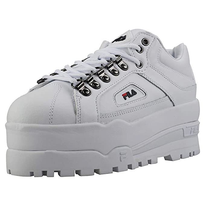 ccae5f0eb623 Image Unavailable. Image not available for. Color  Fila Trailblazer Wedge  Womens Sneakers White