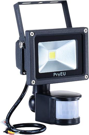 PryEU Foco proyector LED 10W con Sensor de Movimiento, 800 lúmenes ...