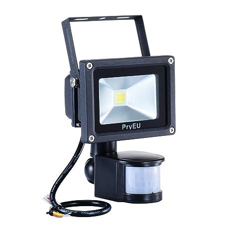 PryEU Foco proyector LED 10W con Sensor de Movimiento, 800 lúmenes, luz blanca fría