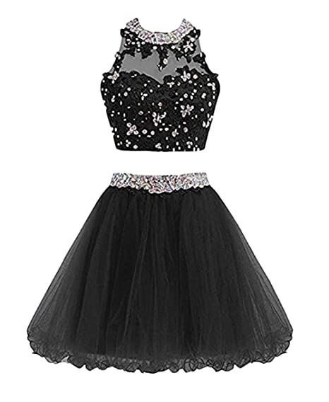 Leader of the Beauty Two Piece Lace Sleeveless Short Homecoming Dresses Beads Prom Dress Black UK