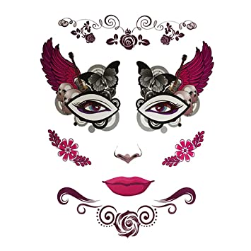 a8e7dcf30 Buy Homyl Adults' Halloween Day of Dead Temporary Face Tattoo Kit Skull  Cobweb Flower Tattoos - 2, as described Online at Low Prices in India -  Amazon.in