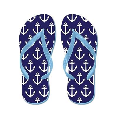 c08a33d0750f4 CafePress - Anchor Nautical Navy Blue - Flip Flops, Funny Thong Sandals,  Beach Sandals