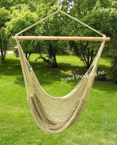 Deluxe Extra Large Tan Rope Hammock Swing Chair Extra Soft Poly Rope