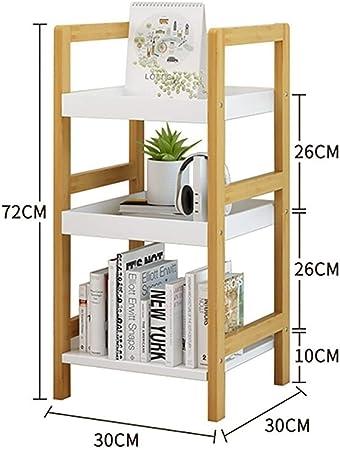 JIAJU Estantería de baño de bambú Estantería Independiente Estantería Librería 3 estantes Estante de Almacenamiento para CD DVDs Libros Sala de Estar Cocina Garaje Escalera Forma: Amazon.es: Hogar