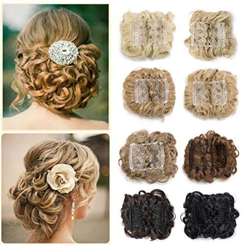 Combs Clip in Bun Claw Jaw Updo Hairpiece Extension Wavy Donut Chignons Wrap Around Scrunchy