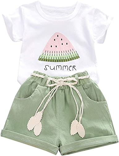 Plaid Short Pants Summer Outfits Set Toddler Baby Girls 2pcs Set Watermelon Vest Shirt