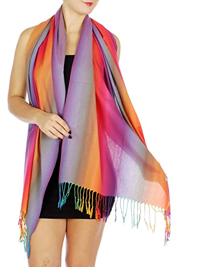 fc4c03b1d Pashmina Shawls And Wraps, Soft Rainbow Scarf for Women, Multicolor ...
