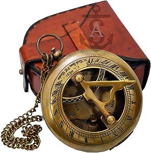 Sundial Compass, Antique Steampunk Brass Sundial Compass, Sundial Watch with Leather case Sundial