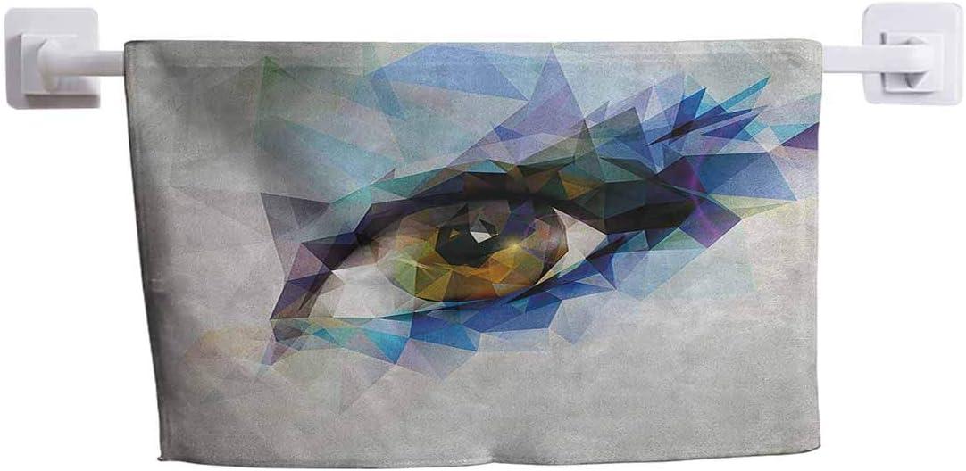 "DayDayFun Fun Beach Towel Eye for Pool, Bath, Sport, Yoga, Camping, Swimming Womans Eye with Polygonal Triangles Effect Artistic Modern Geometric Colorful Print 10"" x 10"" Multicolor"