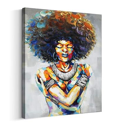 2ba9dc6209c Artinme Framed African American Black Art Dancing Black Women in Dress Wall  Art Painting on Canvas
