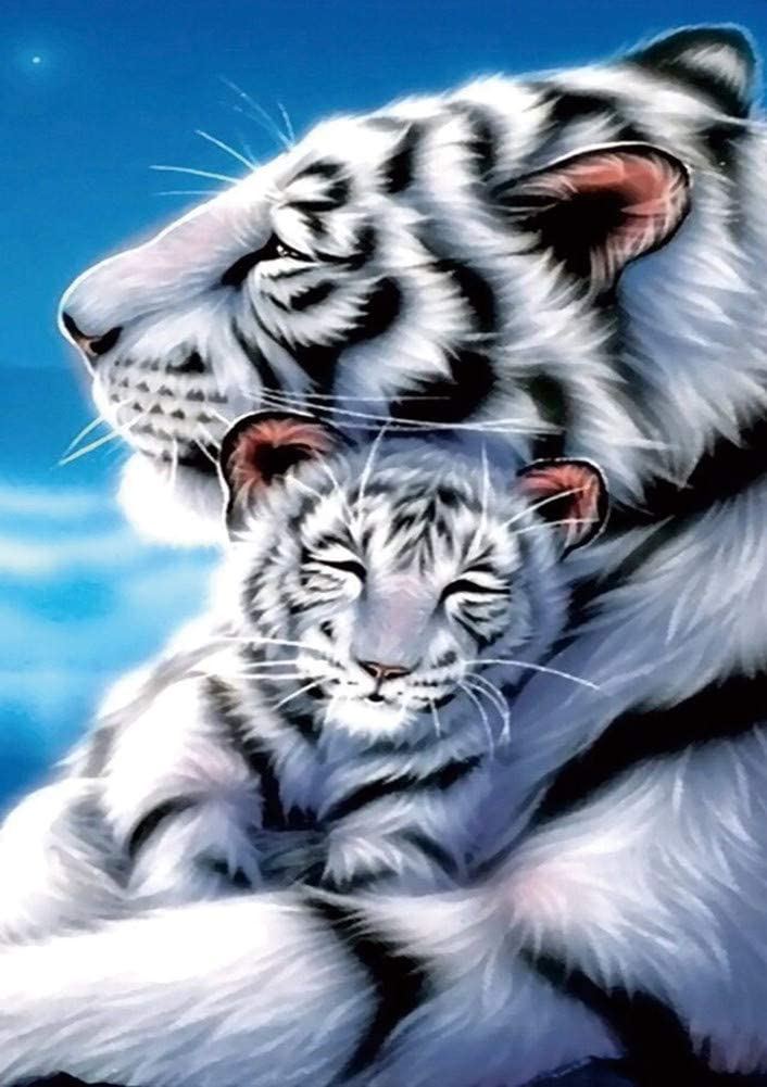 New 5D Diamond Painting Kits for Adults Kids, Awesocrafts White Tiger Mother Child Under Moonlight Starry Sky Full Drill DIY Diamond Art Embroidery Paint by Numbers with Diamonds (Tiger)